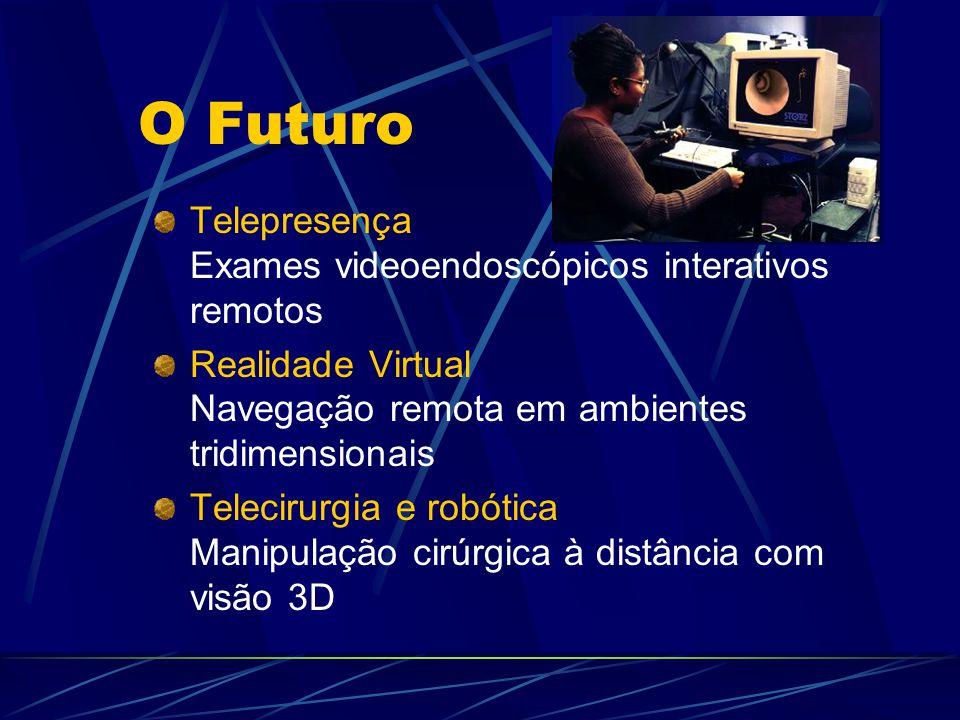 O Futuro Telepresença Exames videoendoscópicos interativos remotos Realidade Virtual Navegação remota em ambientes tridimensionais Telecirurgia e robótica Manipulação cirúrgica à distância com visão 3D