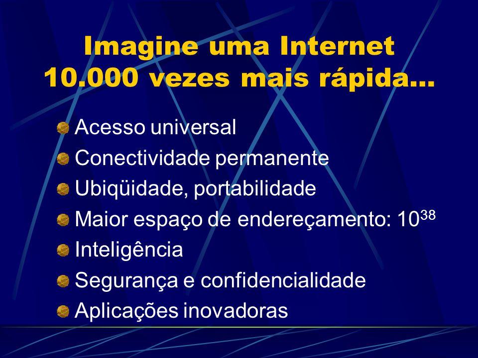 Imagine uma Internet 10.000 vezes mais rápida… Acesso universal Conectividade permanente Ubiqüidade, portabilidade Maior espaço de endereçamento: 10 38 Inteligência Segurança e confidencialidade Aplicações inovadoras