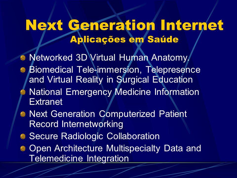 Next Generation Internet Aplicações em Saúde Networked 3D Virtual Human Anatomy. Biomedical Tele-immersion, Telepresence and Virtual Reality in Surgic