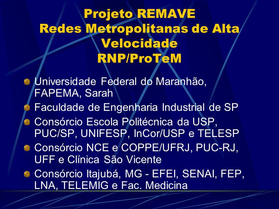 Projeto REMAVE Redes Metropolitanas de Alta Velocidade RNP/ProTeM Universidade Federal do Maranhão, FAPEMA, Sarah Faculdade de Engenharia Industrial de SP Consórcio Escola Politécnica da USP, PUC/SP, UNIFESP, InCor/USP e TELESP Consórcio NCE e COPPE/UFRJ, PUC-RJ, UFF e Clínica São Vicente Consórcio Itajubá, MG - EFEI, SENAI, FEP, LNA, TELEMIG e Fac.