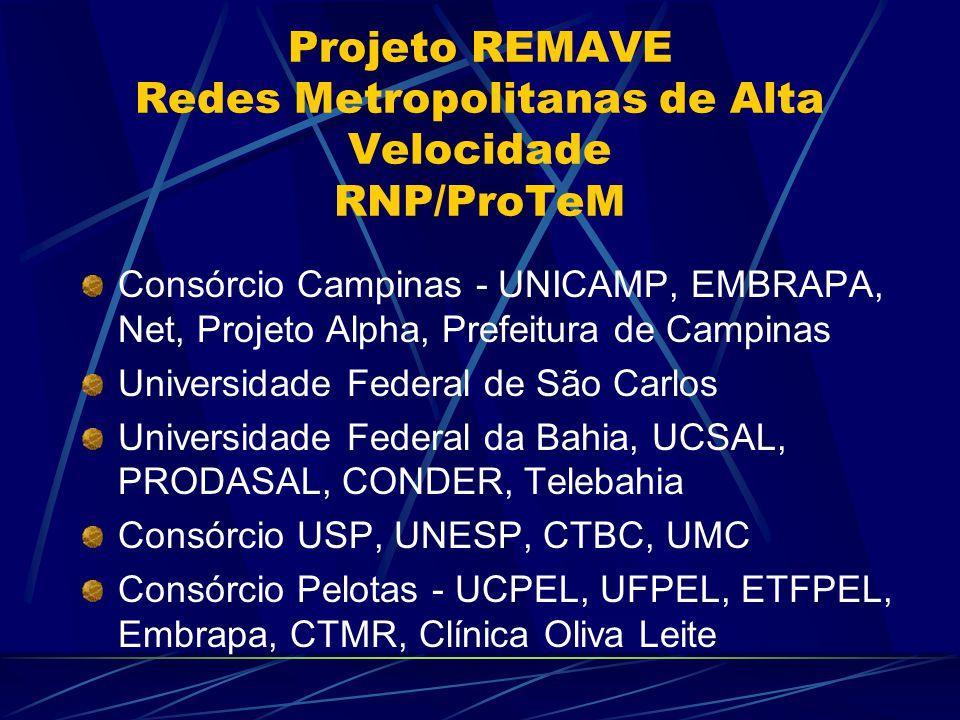 Consórcio Campinas - UNICAMP, EMBRAPA, Net, Projeto Alpha, Prefeitura de Campinas Universidade Federal de São Carlos Universidade Federal da Bahia, UCSAL, PRODASAL, CONDER, Telebahia Consórcio USP, UNESP, CTBC, UMC Consórcio Pelotas - UCPEL, UFPEL, ETFPEL, Embrapa, CTMR, Clínica Oliva Leite Projeto REMAVE Redes Metropolitanas de Alta Velocidade RNP/ProTeM