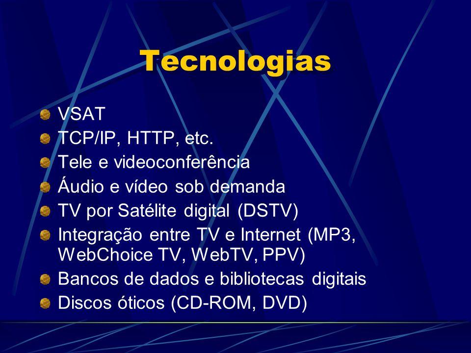 Tecnologias VSAT TCP/IP, HTTP, etc. Tele e videoconferência Áudio e vídeo sob demanda TV por Satélite digital (DSTV) Integração entre TV e Internet (M