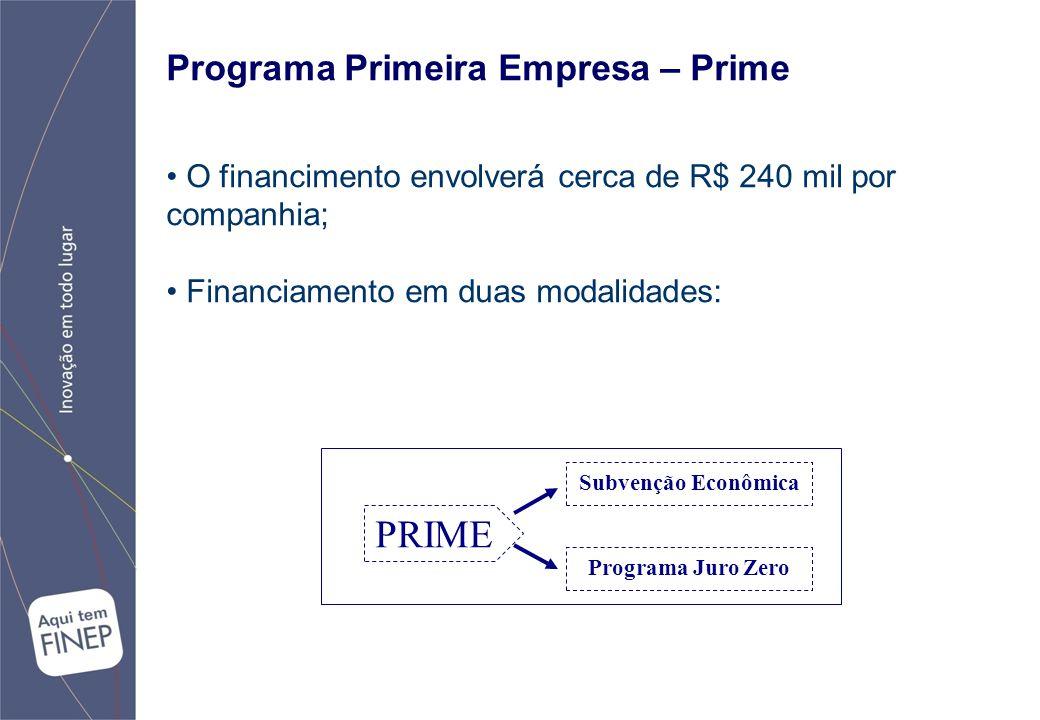 Programa Primeira Empresa – Prime O financimento envolverá cerca de R$ 240 mil por companhia; Financiamento em duas modalidades: PRIME Subvenção Econômica Programa Juro Zero
