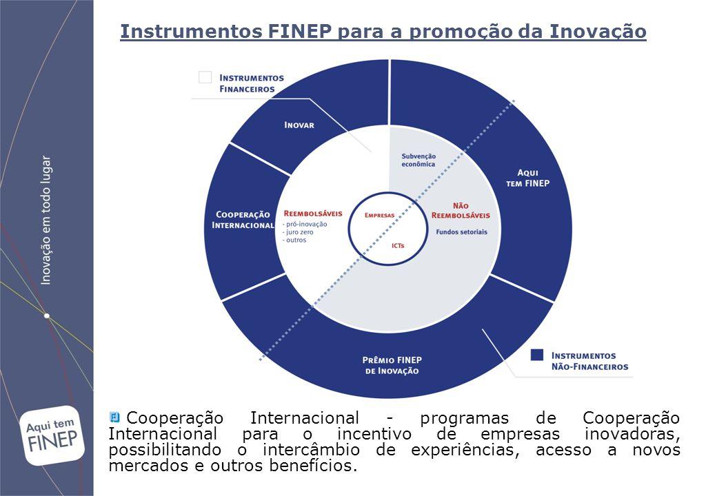 Instrumentos FINEP para a promoção da Inovação Cooperação Internacional - programas de Cooperação Internacional para o incentivo de empresas inovadoras, possibilitando o intercâmbio de experiências, acesso a novos mercados e outros benefícios.