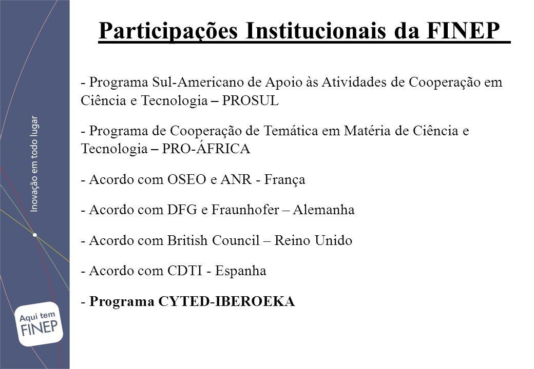 - Programa Sul-Americano de Apoio às Atividades de Cooperação em Ciência e Tecnologia – PROSUL - Programa de Cooperação de Temática em Matéria de Ciência e Tecnologia – PRO-ÁFRICA - Acordo com OSEO e ANR - França - Acordo com DFG e Fraunhofer – Alemanha - Acordo com British Council – Reino Unido - Acordo com CDTI - Espanha - Programa CYTED-IBEROEKA Participações Institucionais da FINEP