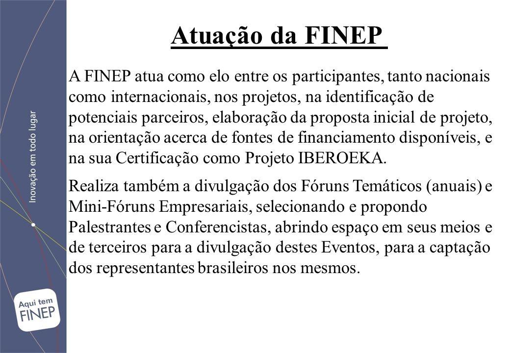 A FINEP atua como elo entre os participantes, tanto nacionais como internacionais, nos projetos, na identificação de potenciais parceiros, elaboração da proposta inicial de projeto, na orientação acerca de fontes de financiamento disponíveis, e na sua Certificação como Projeto IBEROEKA.