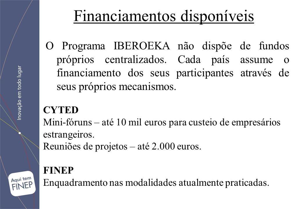 Financiamentos disponíveis CYTED Mini-fóruns – até 10 mil euros para custeio de empresários estrangeiros.