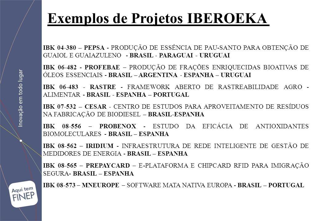 Exemplos de Projetos IBEROEKA IBK 04-380 – PEPSA - PRODUÇÃO DE ESSÊNCIA DE PAU-SANTO PARA OBTENÇÃO DE GUAIOL E GUAIAZULENO - BRASIL - PARAGUAI - URUGUAI IBK 06-482 - PROFEBAE – PRODUÇÃO DE FRAÇÕES ENRIQUECIDAS BIOATIVAS DE ÓLEOS ESSENCIAIS - BRASIL – ARGENTINA - ESPANHA – URUGUAI IBK 06-483 - RASTRE - FRAMEWORK ABERTO DE RASTREABILIDADE AGRO - ALIMENTAR - BRASIL - ESPANHA – PORTUGAL IBK 07-532 – CESAR - CENTRO DE ESTUDOS PARA APROVEITAMENTO DE RESÍDUOS NA FABRICAÇÃO DE BIODIESEL – BRASIL-ESPANHA IBK 08-556 – PROBENOX - ESTUDO DA EFICÁCIA DE ANTIOXIDANTES BIOMOLECULARES - BRASIL – ESPANHA IBK 08-562 – IRIDIUM - INFRAESTRUTURA DE REDE INTELIGENTE DE GESTÃO DE MEDIDORES DE ENERGIA - BRASIL – ESPANHA IBK 08-565 – PREPAYCARD – E-PLATAFORMA E CHIPCARD RFID PARA IMIGRAÇÃO SEGURA- BRASIL – ESPANHA IBK 08-573 – MNEUROPE – SOFTWARE MATA NATIVA EUROPA - BRASIL – PORTUGAL