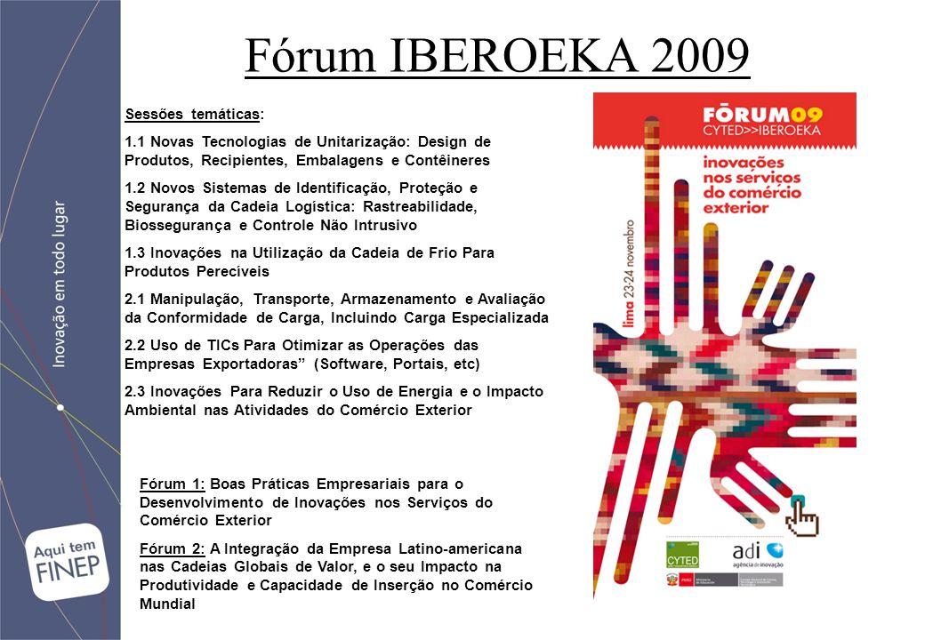 Fórum IBEROEKA 2009 Sessões temáticas: 1.1 Novas Tecnologias de Unitarização: Design de Produtos, Recipientes, Embalagens e Contêineres 1.2 Novos Sistemas de Identificação, Proteção e Segurança da Cadeia Logística: Rastreabilidade, Biossegurança e Controle Não Intrusivo 1.3 Inovações na Utilização da Cadeia de Frio Para Produtos Perecíveis 2.1 Manipulação, Transporte, Armazenamento e Avaliação da Conformidade de Carga, Incluindo Carga Especializada 2.2 Uso de TICs Para Otimizar as Operações das Empresas Exportadoras (Software, Portais, etc) 2.3 Inovações Para Reduzir o Uso de Energia e o Impacto Ambiental nas Atividades do Comércio Exterior Fórum 1: Boas Práticas Empresariais para o Desenvolvimento de Inovações nos Serviços do Comércio Exterior Fórum 2: A Integração da Empresa Latino-americana nas Cadeias Globais de Valor, e o seu Impacto na Produtividade e Capacidade de Inserção no Comércio Mundial