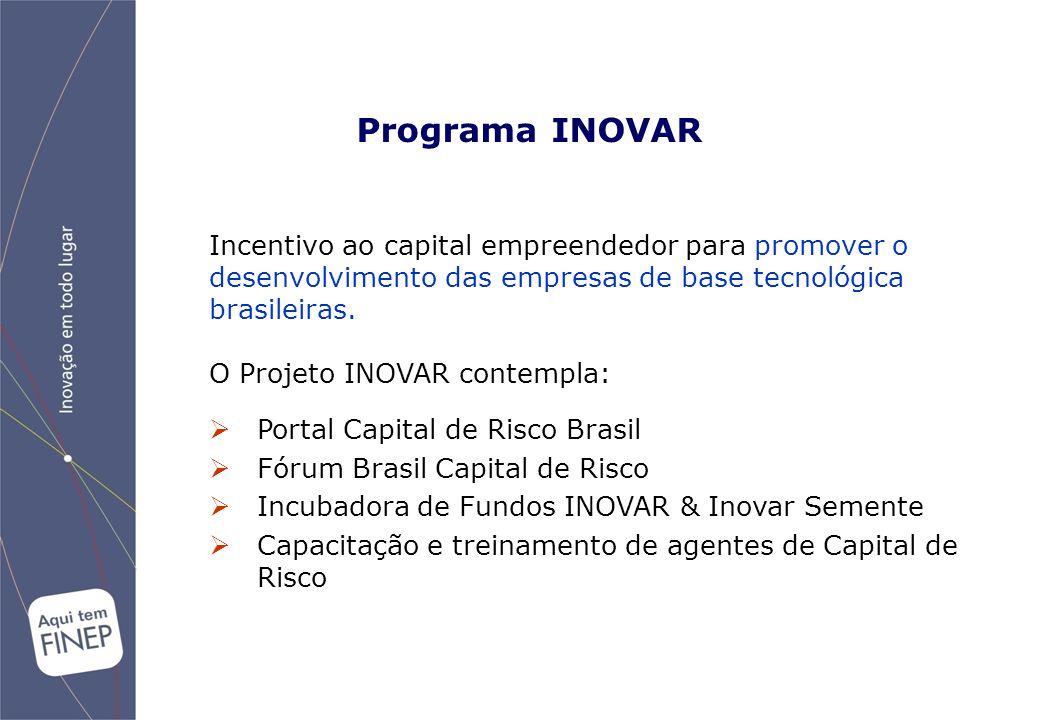  Portal Capital de Risco Brasil  Fórum Brasil Capital de Risco  Incubadora de Fundos INOVAR & Inovar Semente  Capacitação e treinamento de agentes de Capital de Risco Incentivo ao capital empreendedor para promover o desenvolvimento das empresas de base tecnológica brasileiras.