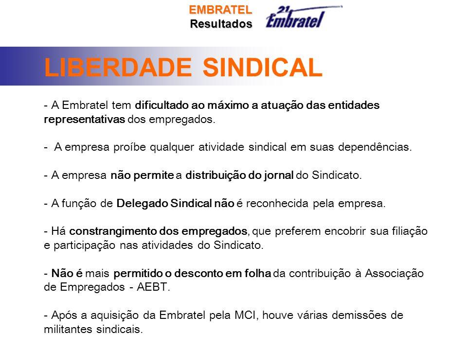 EMBRATELResultados LIBERDADE SINDICAL - A Embratel tem dificultado ao máximo a atuação das entidades representativas dos empregados.