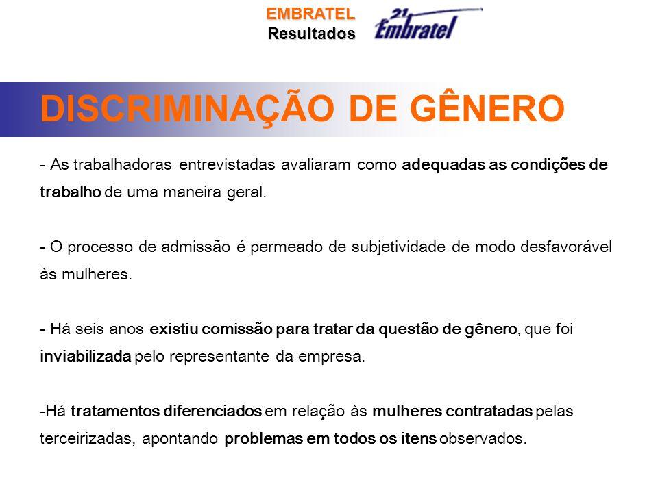 DISCRIMINAÇÃO DE GÊNERO - As trabalhadoras entrevistadas avaliaram como adequadas as condições de trabalho de uma maneira geral.