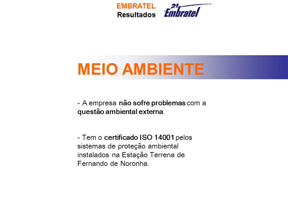 MEIO AMBIENTE - A empresa não sofre problemas com a questão ambiental externa.