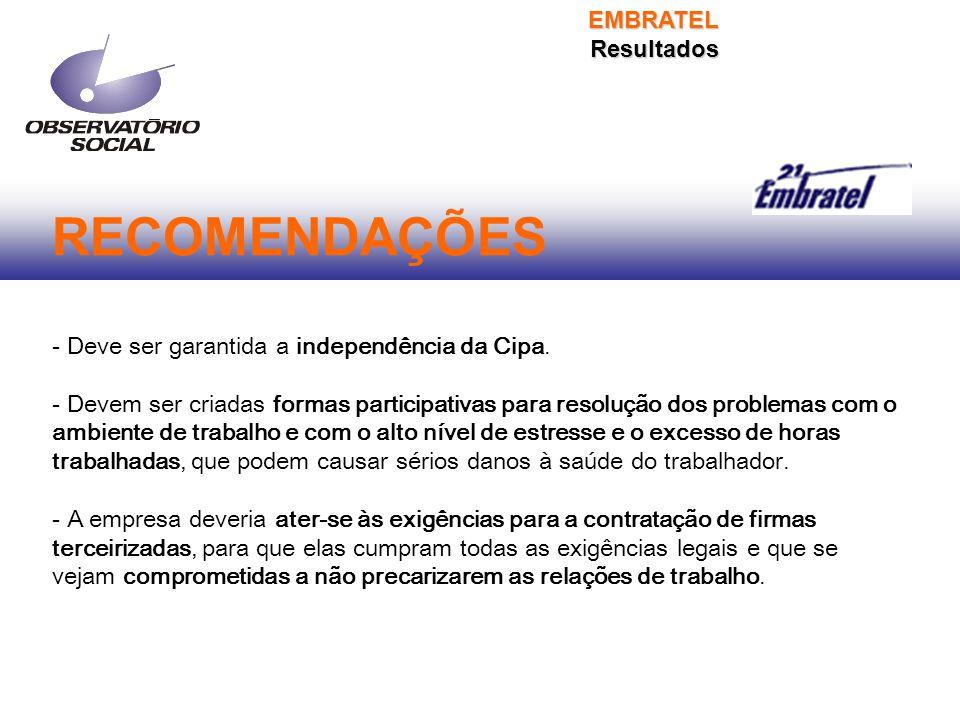 RECOMENDAÇÕES - Deve ser garantida a independência da Cipa.