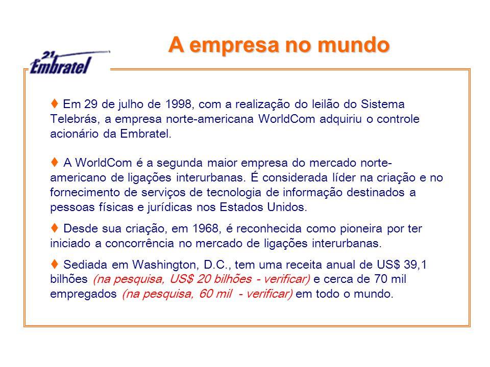 A empresa no mundo  Em 29 de julho de 1998, com a realização do leilão do Sistema Telebrás, a empresa norte-americana WorldCom adquiriu o controle acionário da Embratel.