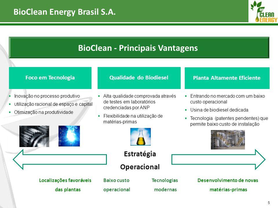 5 BioClean - Principais Vantagens Foco em TecnologiaQualidade do Biodiesel Planta Altamente Eficiente  Entrando no mercado com um baixo custo operaci