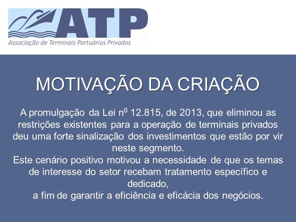 MOTIVAÇÃO DA CRIAÇÃO A promulgação da Lei n 0 12.815, de 2013, que eliminou as restrições existentes para a operação de terminais privados deu uma for