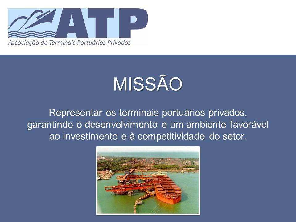 MISSÃO Representar os terminais portuários privados, garantindo o desenvolvimento e um ambiente favorável ao investimento e à competitividade do setor