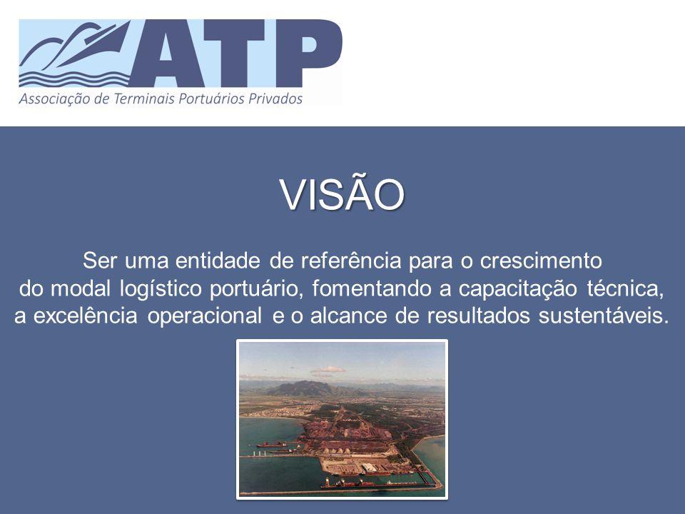 VISÃO Ser uma entidade de referência para o crescimento do modal logístico portuário, fomentando a capacitação técnica, a excelência operacional e o a