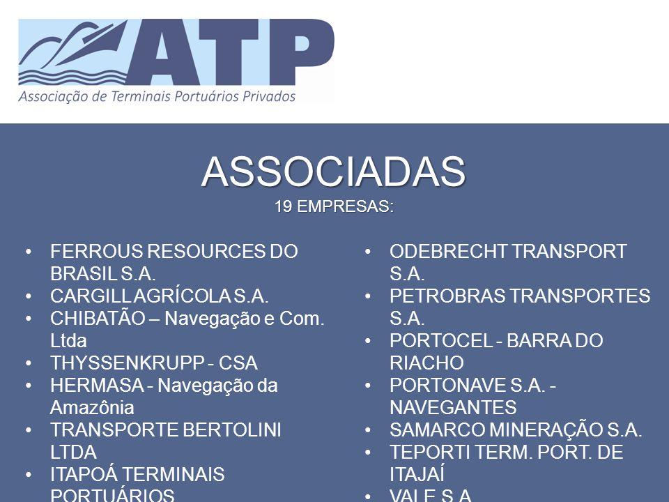 ASSOCIADAS 19 EMPRESAS: FERROUS RESOURCES DO BRASIL S.A. CARGILL AGRÍCOLA S.A. CHIBATÃO – Navegação e Com. Ltda THYSSENKRUPP - CSA HERMASA - Navegação