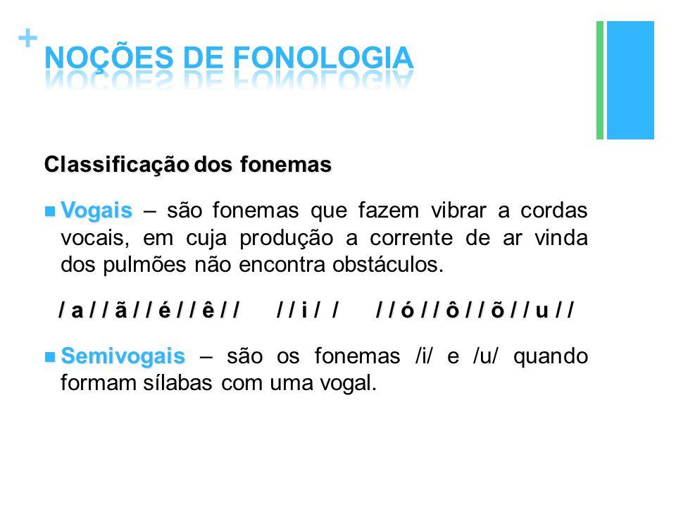 + Classificação dos fonemas Vogais Vogais – são fonemas que fazem vibrar a cordas vocais, em cuja produção a corrente de ar vinda dos pulmões não enco