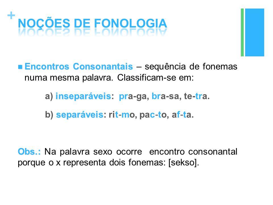 + Encontros Consonantais Encontros Consonantais – sequência de fonemas numa mesma palavra. Classificam-se em: inseparáveis a) inseparáveis: pra-ga, br