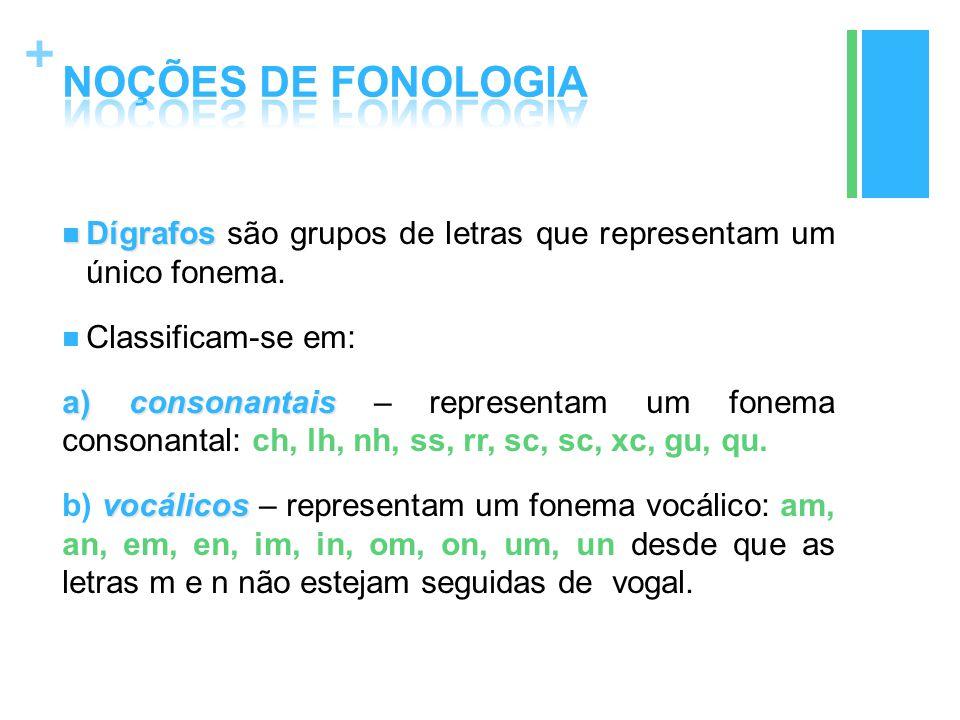 + Dígrafos Dígrafos são grupos de letras que representam um único fonema. Classificam-se em: a) consonantais a) consonantais – representam um fonema c