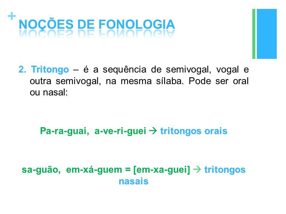 + Tritongo 2. Tritongo – é a sequência de semivogal, vogal e outra semivogal, na mesma sílaba. Pode ser oral ou nasal: tritongos orais Pa-ra-guai, a-v