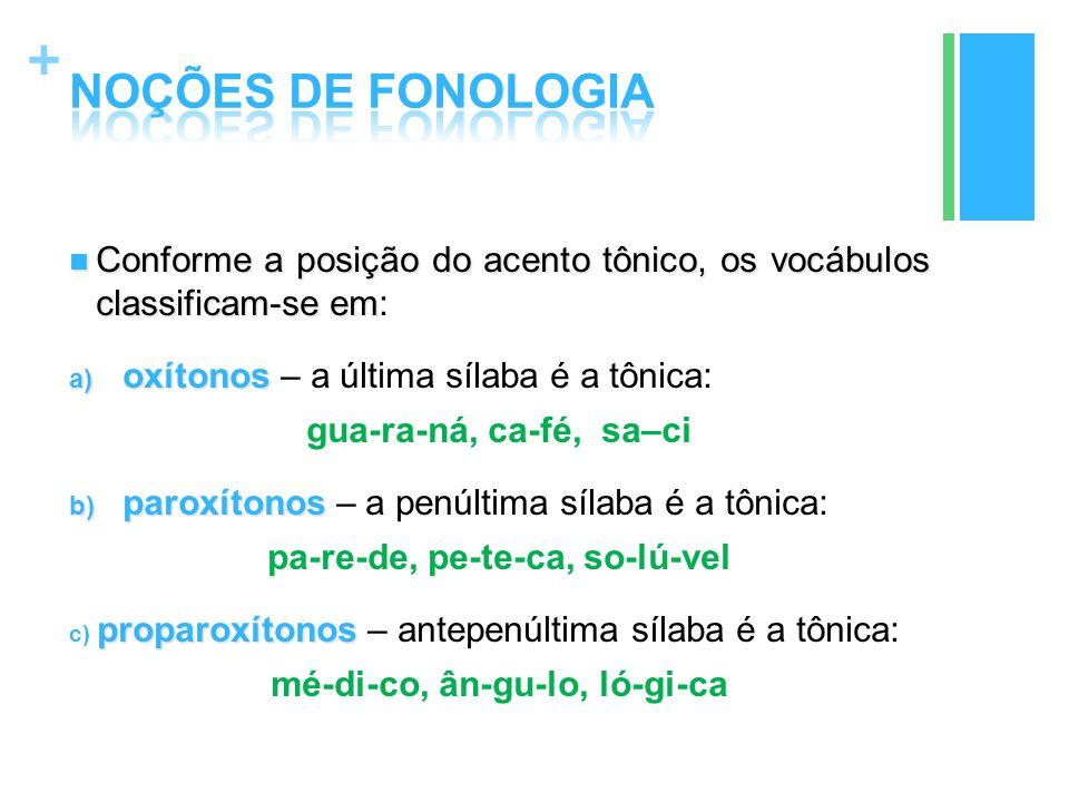 + Conforme a posição do acento tônico, os vocábulos classificam-se em Conforme a posição do acento tônico, os vocábulos classificam-se em: a) oxítonos