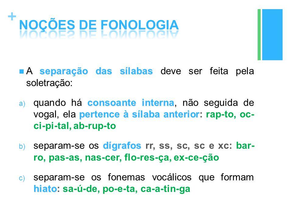 + separação das sílabas A separação das sílabas deve ser feita pela soletração: consoante interna pertence à sílaba anterior a) quando há consoante in