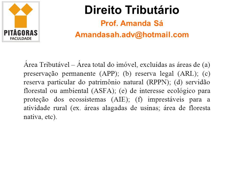 Área Tributável – Área total do imóvel, excluídas as áreas de (a) preservação permanente (APP); (b) reserva legal (ARL); (c) reserva particular do patrimônio natural (RPPN); (d) servidão florestal ou ambiental (ASFA); (e) de interesse ecológico para proteção dos ecossistemas (AIE); (f) imprestáveis para a atividade rural (ex.
