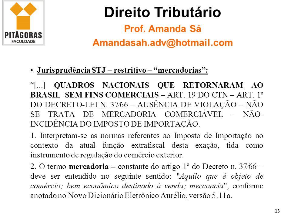 Jurisprudência STJ – restritivo – mercadorias : [...] QUADROS NACIONAIS QUE RETORNARAM AO BRASIL SEM FINS COMERCIAIS – ART.