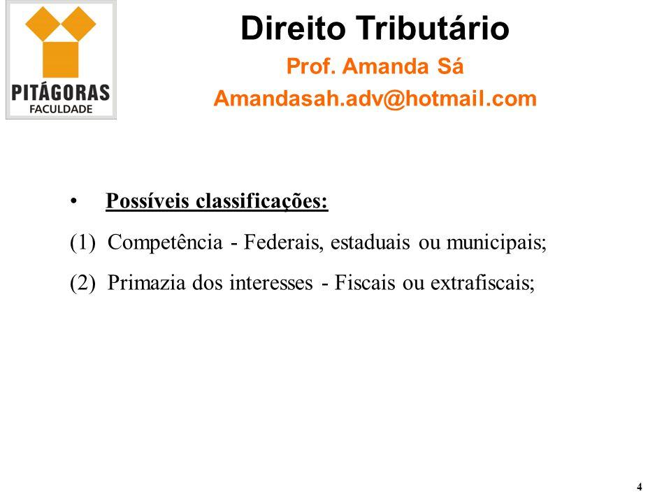 Possíveis classificações: (1)Competência - Federais, estaduais ou municipais; (2)Primazia dos interesses - Fiscais ou extrafiscais; 4 Direito Tributário Prof.