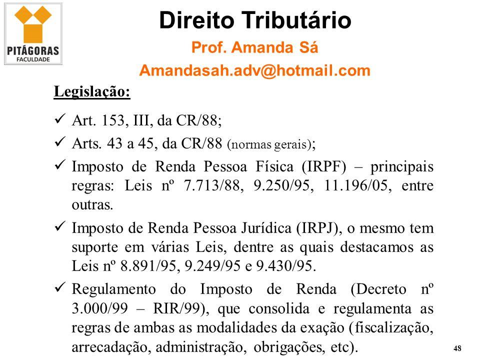 Imposto de Renda Pessoa Física – Prof.Leonardo Ventura 48 Legislação: Art.
