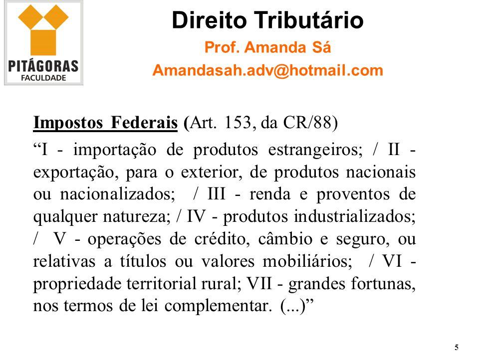 1.2 Imposto sobre a Importação 6 Direito Tributário Prof. Amanda Sá Amandasah.adv@hotmail.com