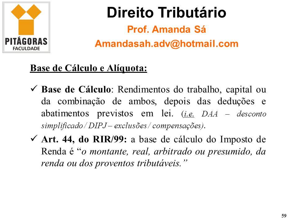 Base de Cálculo e Alíquota: Base de Cálculo: Rendimentos do trabalho, capital ou da combinação de ambos, depois das deduções e abatimentos previstos em lei.