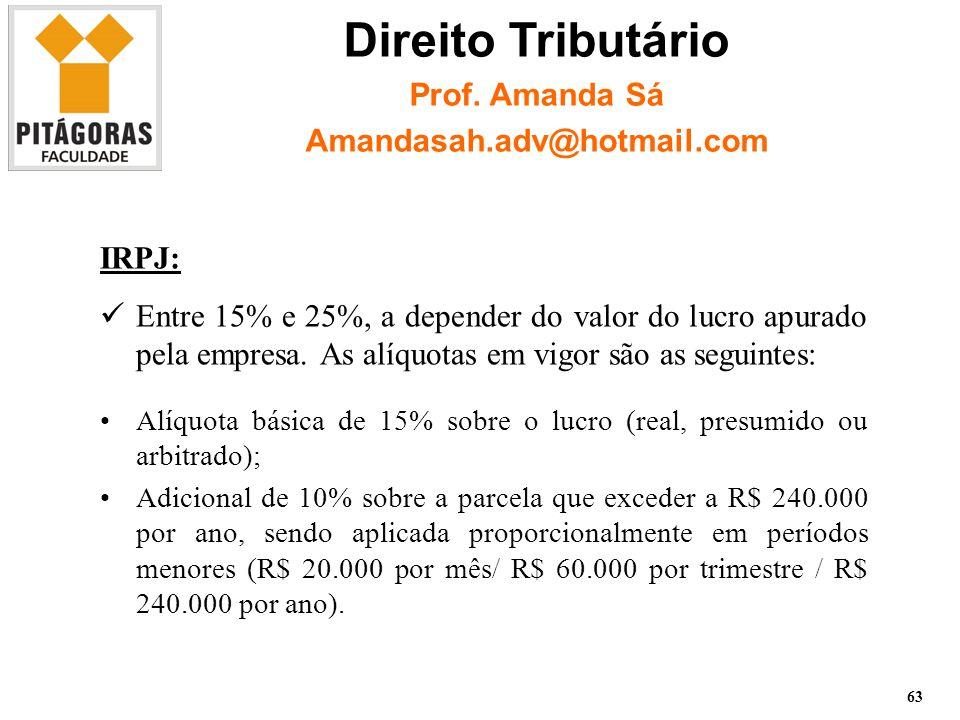 IRPJ: Entre 15% e 25%, a depender do valor do lucro apurado pela empresa.