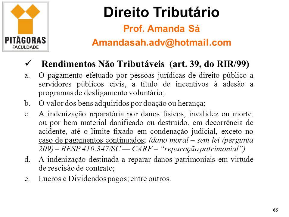 Rendimentos Não Tributáveis (art.