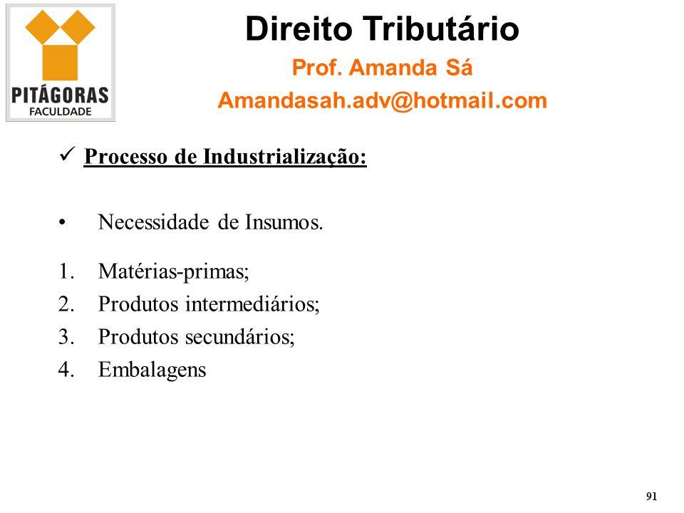 Processo de Industrialização: Necessidade de Insumos.