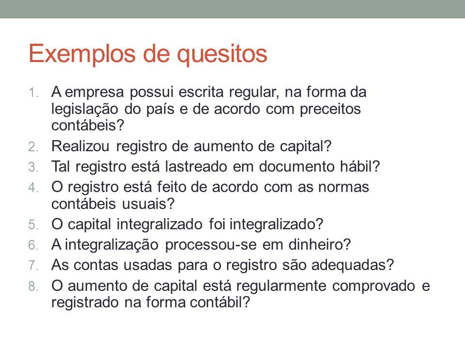 Exemplos de quesitos 1.