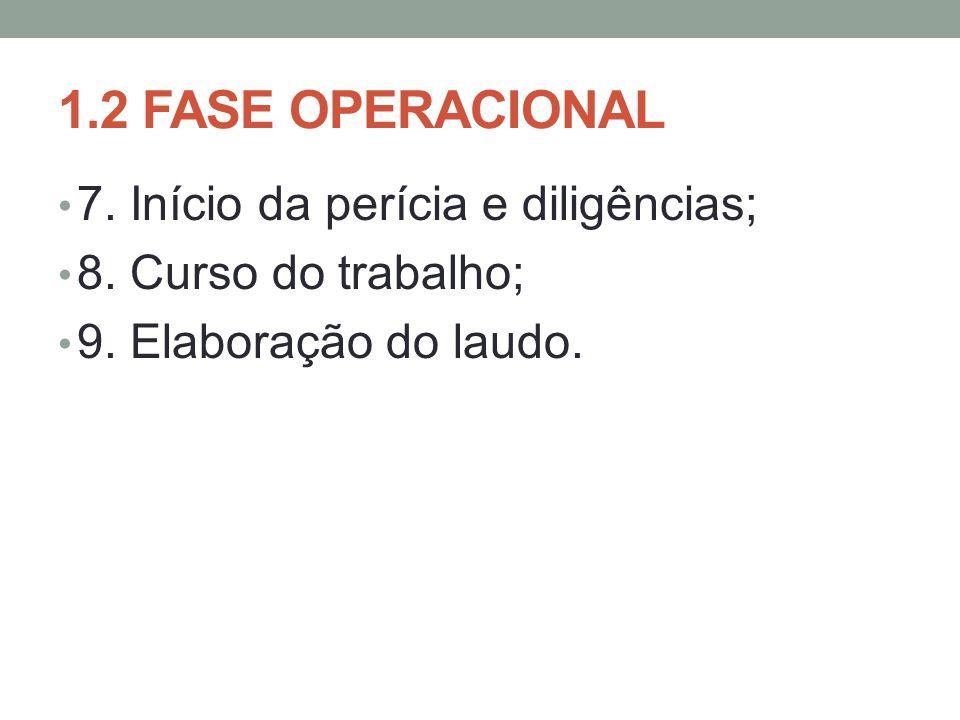 1.2 FASE OPERACIONAL 7.Início da perícia e diligências; 8.