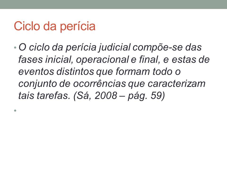 Ciclo da perícia O ciclo da perícia judicial compõe-se das fases inicial, operacional e final, e estas de eventos distintos que formam todo o conjunto de ocorrências que caracterizam tais tarefas.