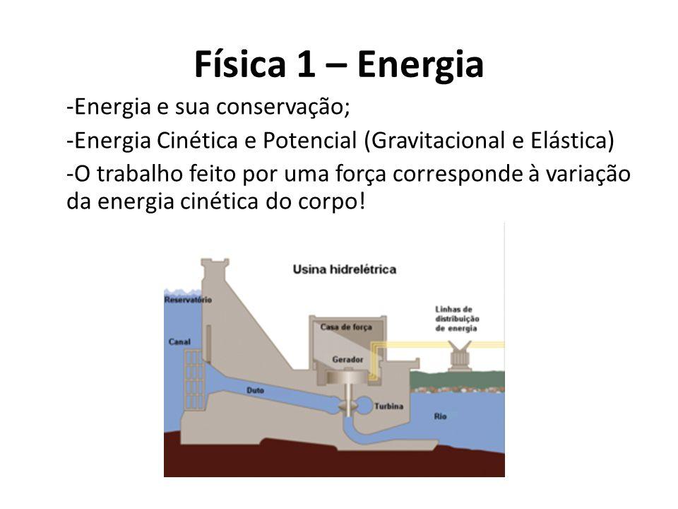 Física 1 – Energia -Energia e sua conservação; -Energia Cinética e Potencial (Gravitacional e Elástica) -O trabalho feito por uma força corresponde à