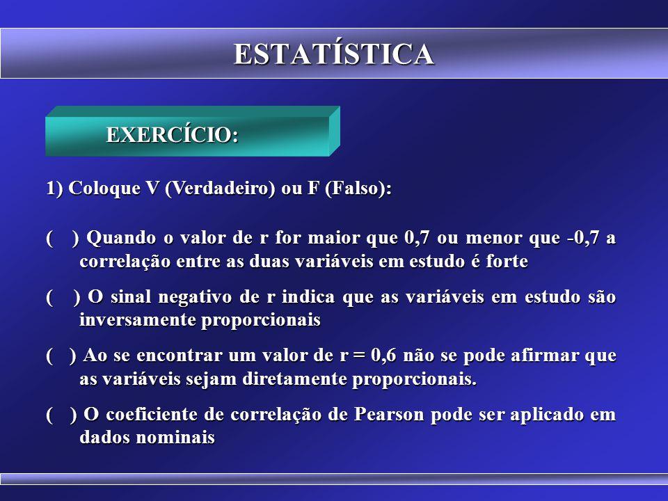 ESTATÍSTICA CORRELAÇÃO DE SPEARMAN (Rho) Estatística não paramétrica Estatística não paramétrica Usada em dados que não têm Distribuição Normal Usada em dados que não têm Distribuição Normal Usadas com dados Ordinais (Conceitos: A, B, C, D, E) Usadas com dados Ordinais (Conceitos: A, B, C, D, E) CORRELAÇÃO TAU DE KENDALL Estatística não paramétrica Estatística não paramétrica Usada em um conjunto pequeno de dados com muitos Usada em um conjunto pequeno de dados com muitos postos empatados postos empatados