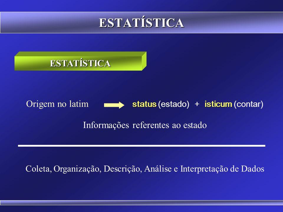 ESTATÍSTICA  Dados Intervalares (Temperatura o C) medida arbitrária zero é relativo Quando se referem a valores obtidos mediante a aplicação de uma unidade de medida arbitrária, porém constante e onde o zero é relativo.
