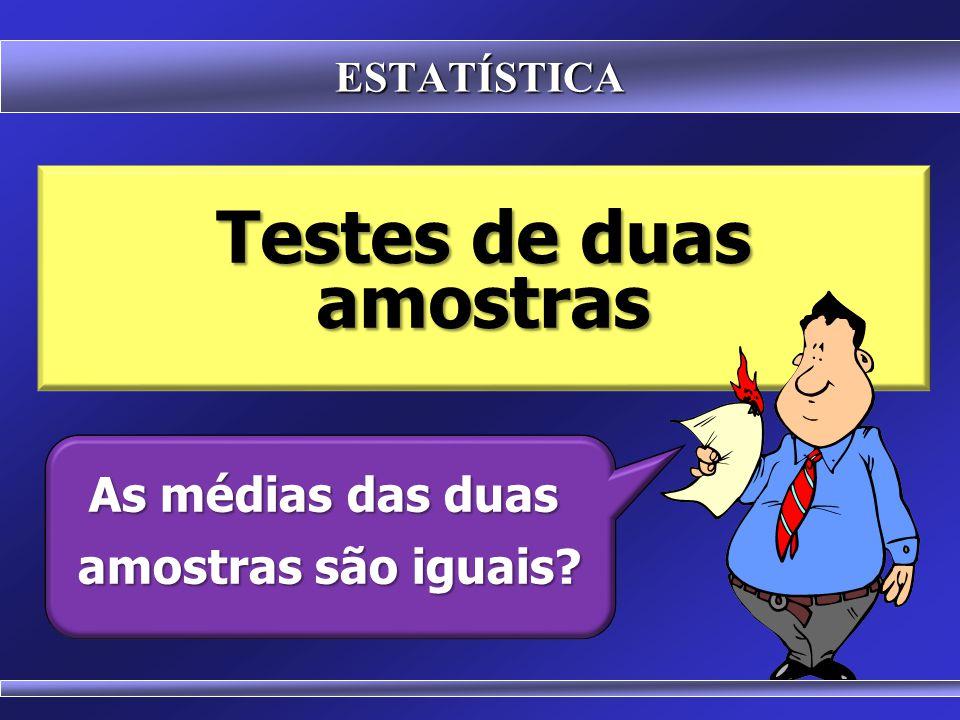 ESTATÍSTICA H 0 :  a -  b = zero H 1 :  a -  b ≠ zero TEST T TEST T Serve para comparar as médias de dois grupos amostrais Duas hipóteses possíveis: Duas hipóteses possíveis: As médias são iguais As médias são iguais As médias são diferentes As médias são diferentes