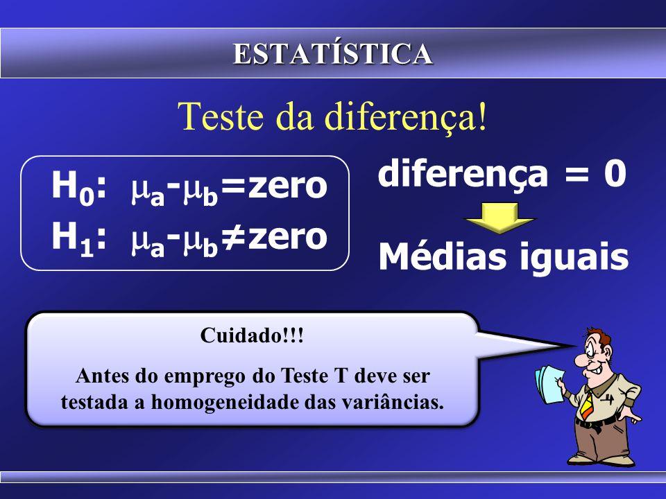Teste da diferença! H 0 :  a -  b =zero H 1 :  a -  b ≠zero diferença = 0 Médias iguais ESTATÍSTICA