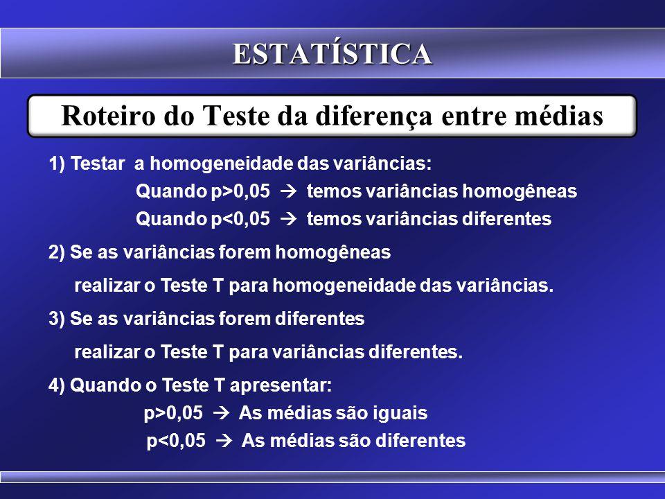 Teste da diferença! H 0 :  a -  b =zero H 1 :  a -  b ≠zero diferença = 0 Médias iguais ESTATÍSTICA Cuidado!!! Antes do emprego do Teste T deve se