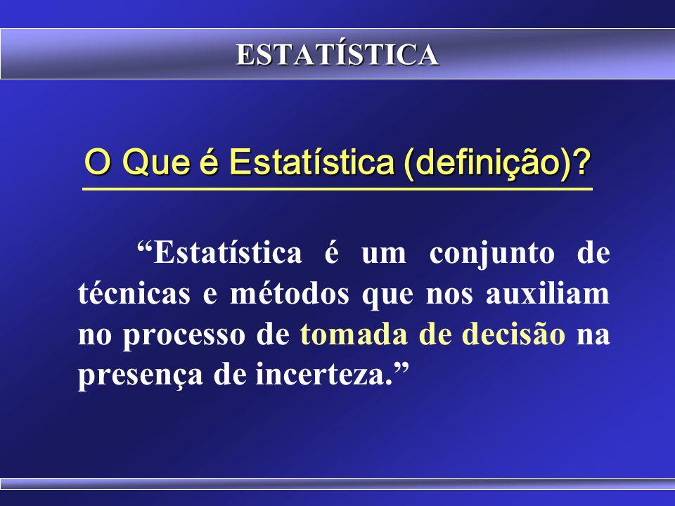 ESTATÍSTICA Elaborando a Definição de Estatística