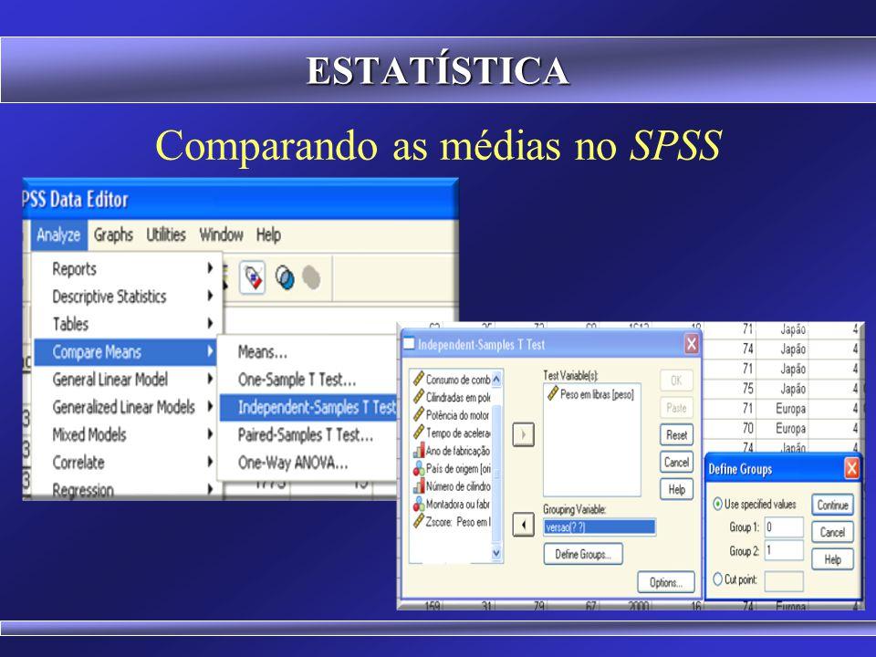 Comparando as médias no Microsoft Excel ESTATÍSTICA